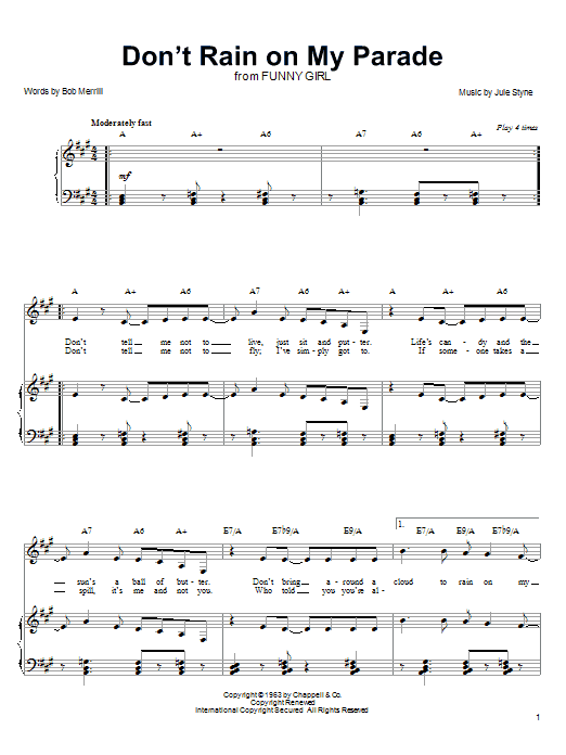Linda Eder Don't Rain On My Parade sheet music notes and chords. Download Printable PDF.