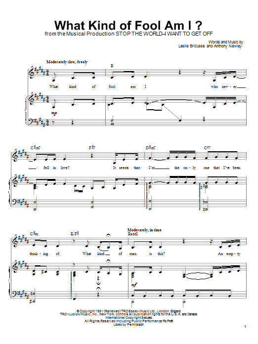 Linda Eder What Kind Of Fool Am I? sheet music notes and chords. Download Printable PDF.