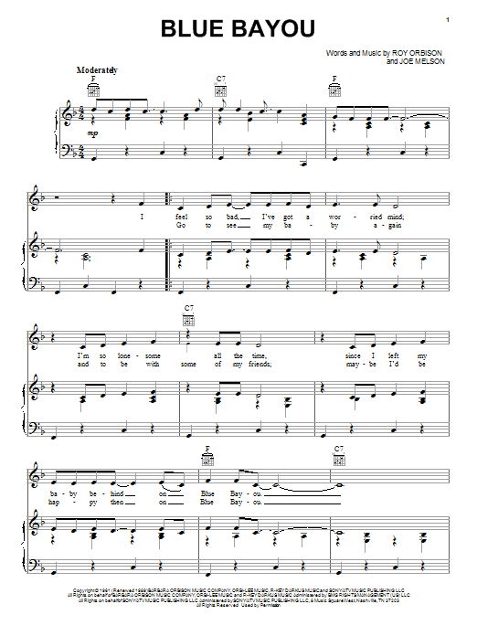 Linda Ronstadt Blue Bayou sheet music notes and chords