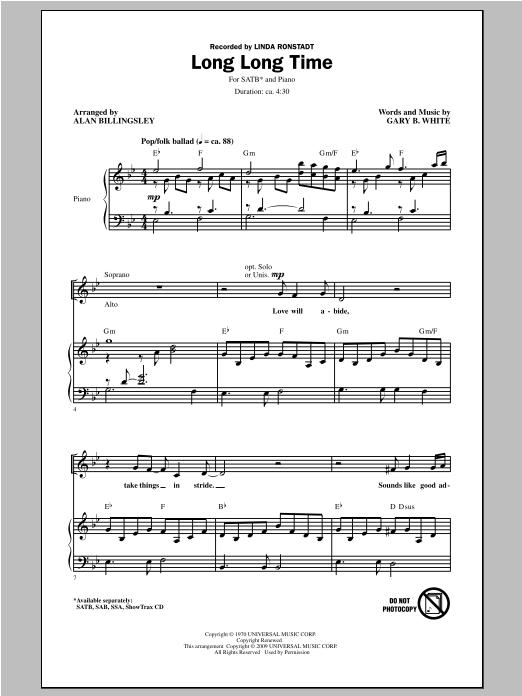 Linda Ronstadt Long Long Time (arr. Alan Billingsley) sheet music notes and chords. Download Printable PDF.