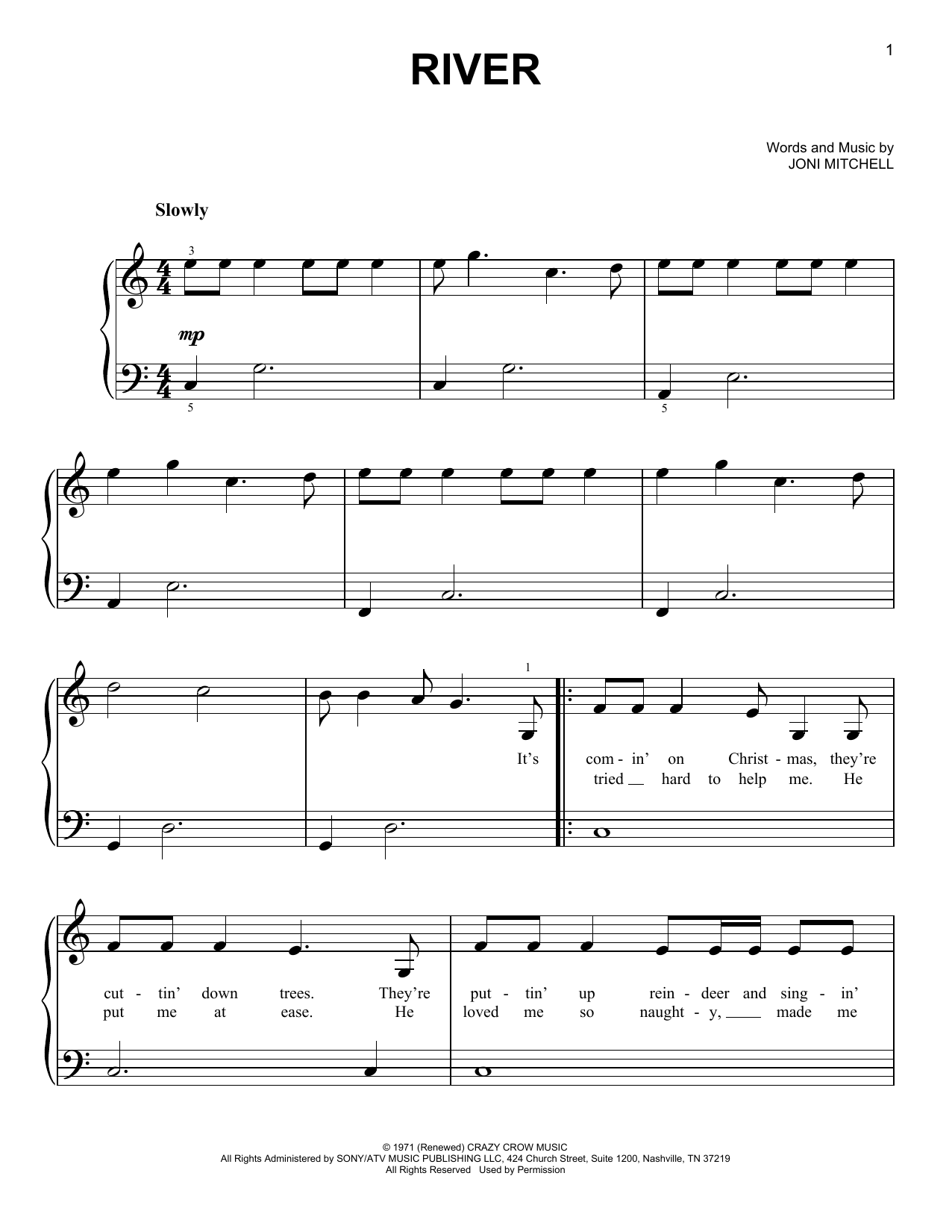 Linda Ronstadt River sheet music notes and chords. Download Printable PDF.