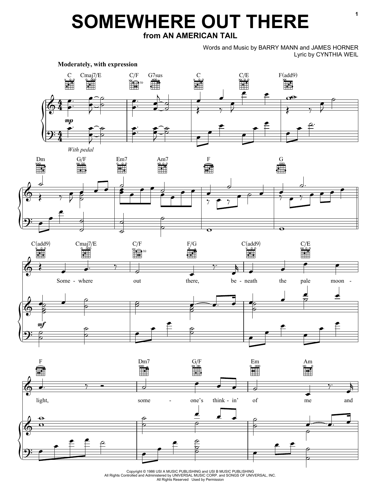 Linda Ronstadt & James Ingram Somewhere Out There sheet music notes and chords. Download Printable PDF.