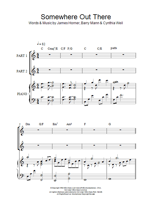 Linda Ronstadt & James Ingram Somewhere Out There (from An American Tail) sheet music notes and chords. Download Printable PDF.
