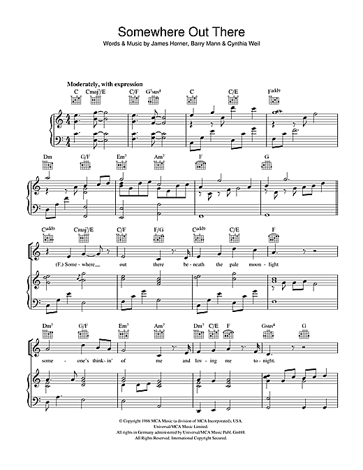 Linda Ronstadt & James Ingram Somewhere Out There (from An American Tail) sheet music notes and chords