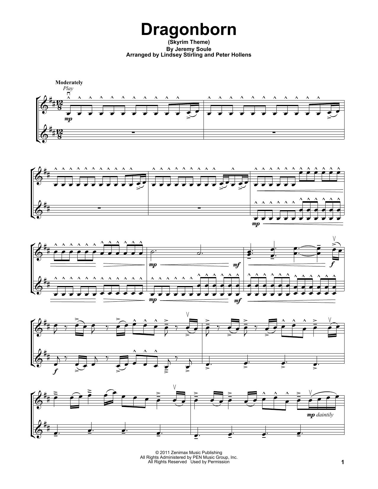 Lindsey Stirling Dragonborn Skyrim Theme Sheet Music Pdf Notes Chords Video Game Score Violin Solo Download Printable Sku 413285