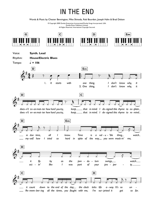 Linkin Park In The End sheet music notes and chords. Download Printable PDF.