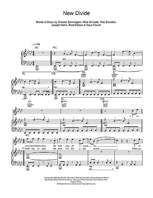 Linkin Park 'New Divide' Sheet Music Notes, Chords | Download Printable  Piano, Vocal & Guitar - SKU: 48378