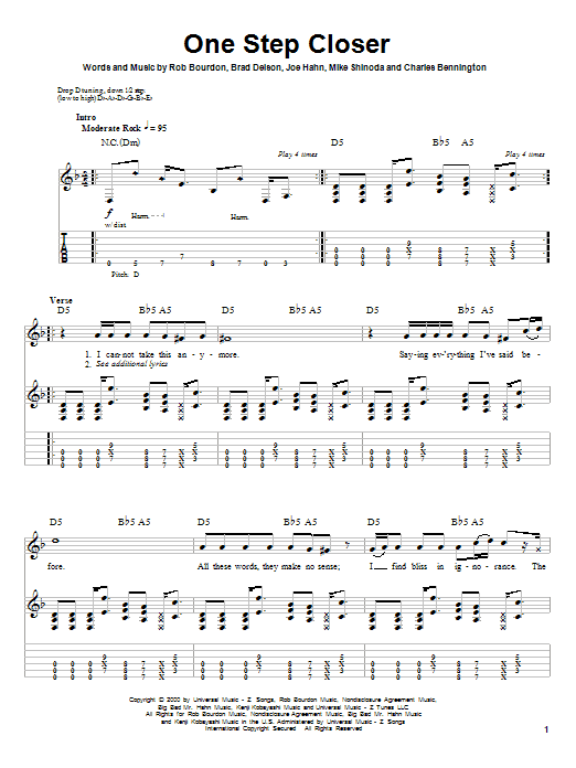 Linkin Park One Step Closer sheet music notes and chords. Download Printable PDF.