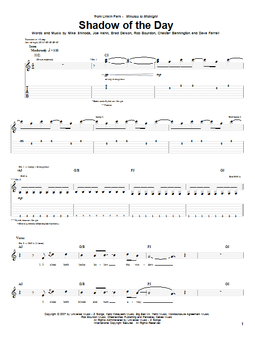 Linkin Park 'Shadow Of The Day' Sheet Music Notes, Chords   Download  Printable Piano, Vocal & Guitar (Right-Hand Melody) - SKU: 62989
