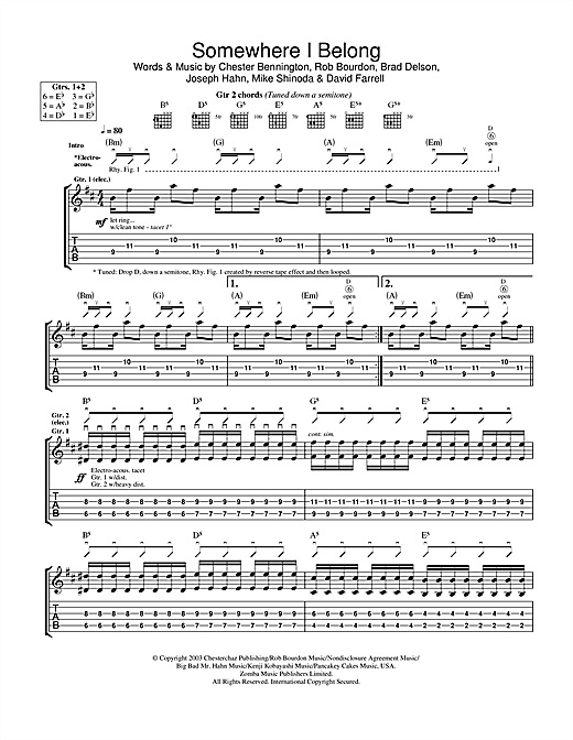 Linkin Park Somewhere I Belong sheet music notes and chords. Download Printable PDF.