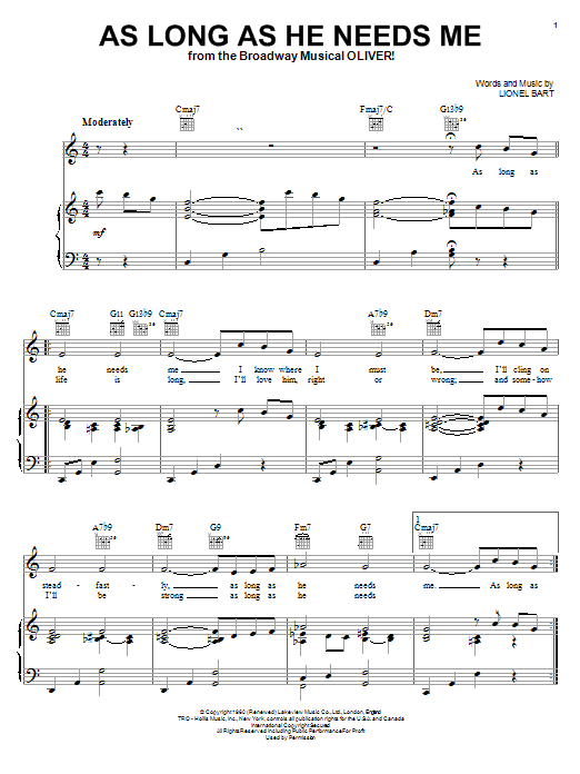 Lionel Bart As Long As He Needs Me sheet music notes and chords. Download Printable PDF.
