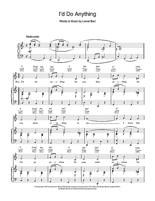 Lionel Bart I'd Do Anything (from Oliver!) sheet music notes and chords