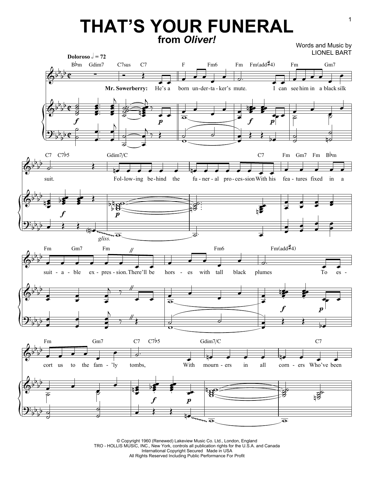 Lionel Bart That's Your Funeral sheet music notes and chords. Download Printable PDF.