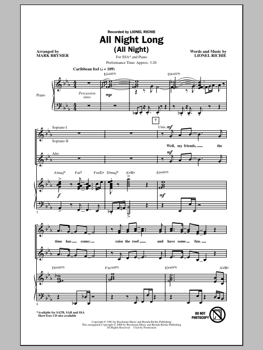 Lionel Richie All Night Long (All Night) (arr. Mark Brymer) sheet music notes and chords. Download Printable PDF.