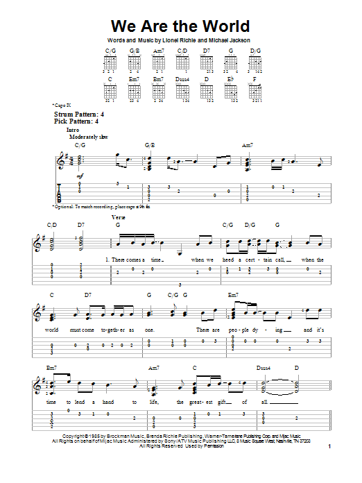 Lionel Richie We Are The World sheet music notes and chords. Download Printable PDF.