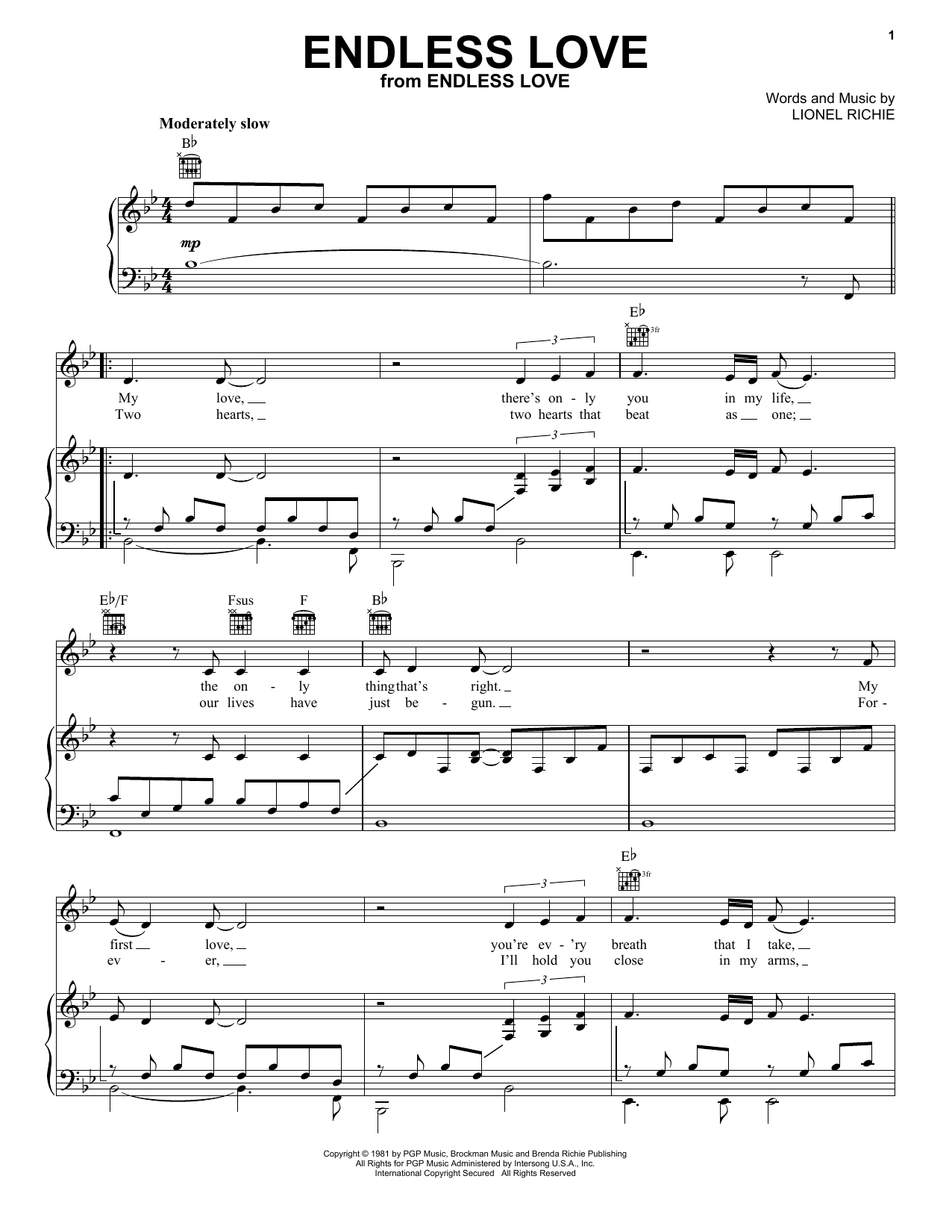 Lionel Richie & Diana Ross Endless Love sheet music notes and chords. Download Printable PDF.
