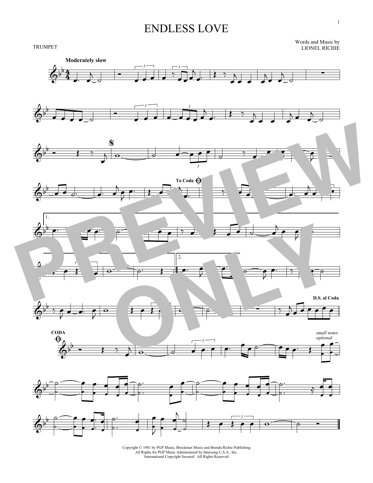 Lionel Richie & Diana Ross 'Endless Love' Sheet Music Notes, Chords    Download Printable Trumpet Solo - SKU: 173725