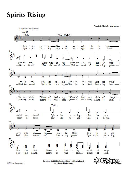 Lisa Levine Spirits Rising sheet music notes and chords. Download Printable PDF.