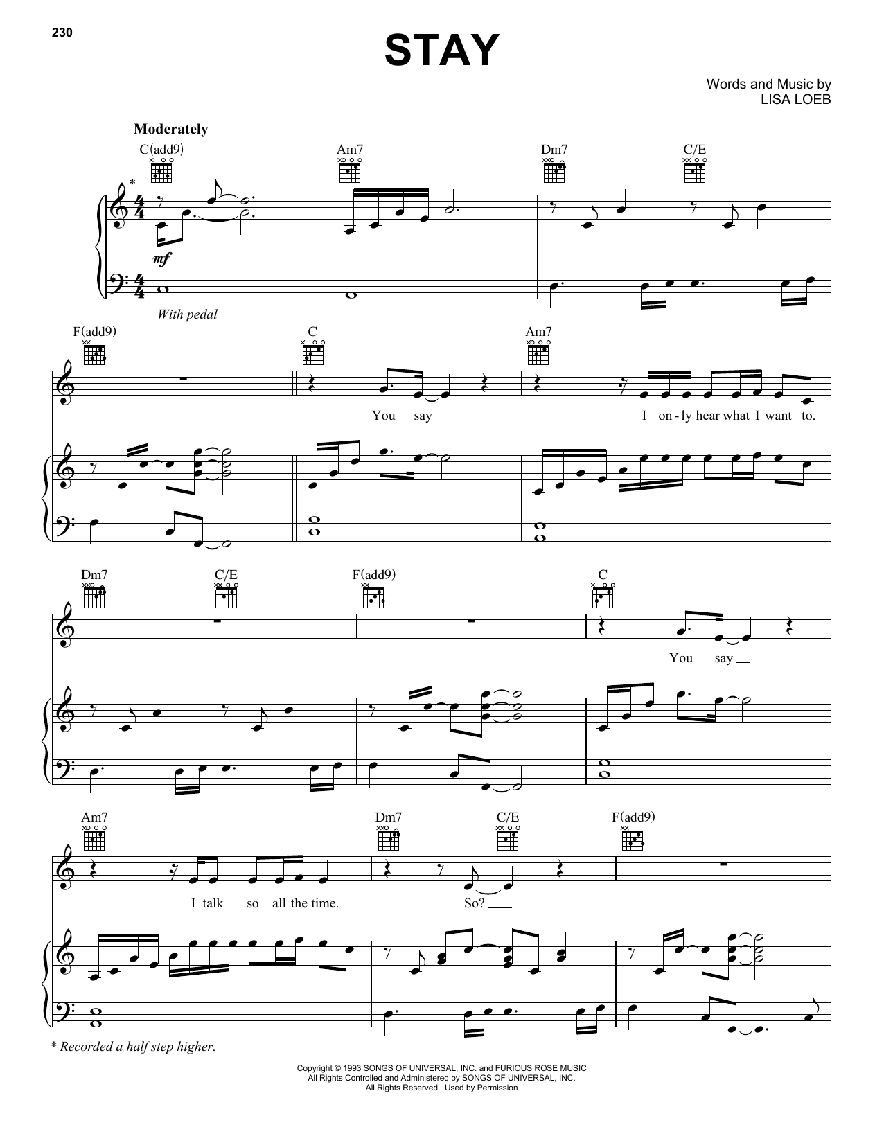 Lisa Loeb Stay sheet music notes and chords. Download Printable PDF.