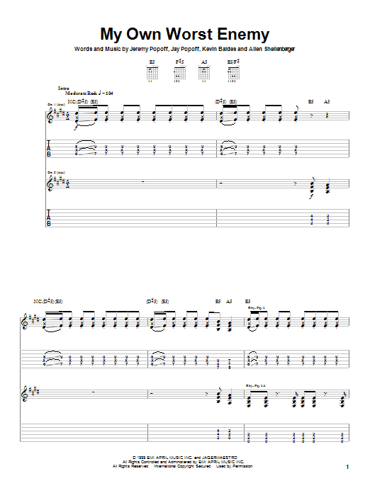 Lit My Own Worst Enemy sheet music notes and chords. Download Printable PDF.