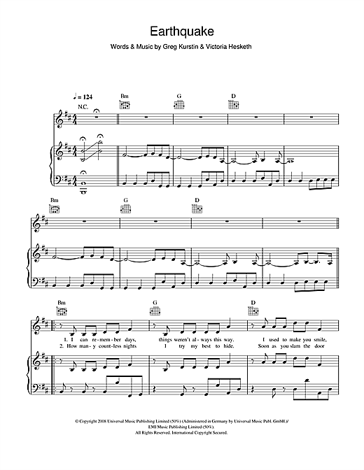 Little Boots Earthquake sheet music notes and chords. Download Printable PDF.