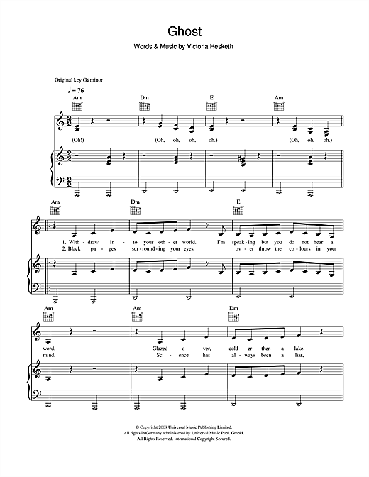 Little Boots Ghost sheet music notes and chords. Download Printable PDF.