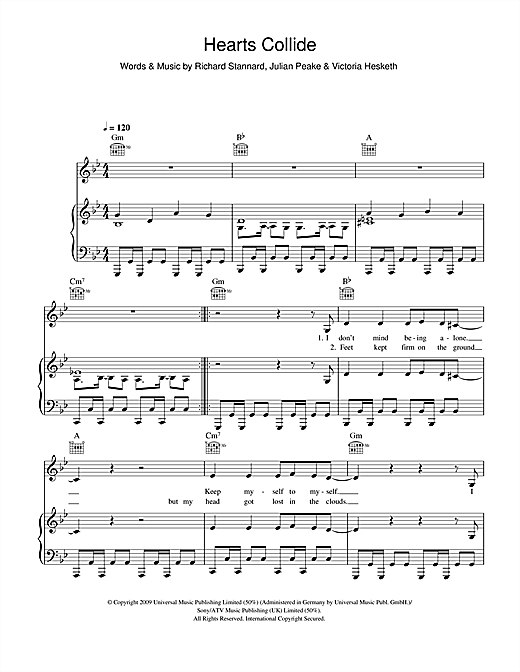 Little Boots Hearts Collide sheet music notes and chords. Download Printable PDF.