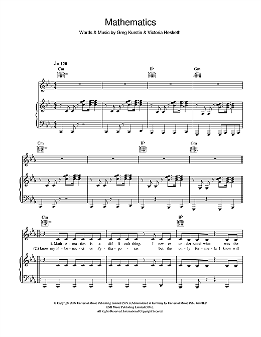 Little Boots Mathematics sheet music notes and chords. Download Printable PDF.