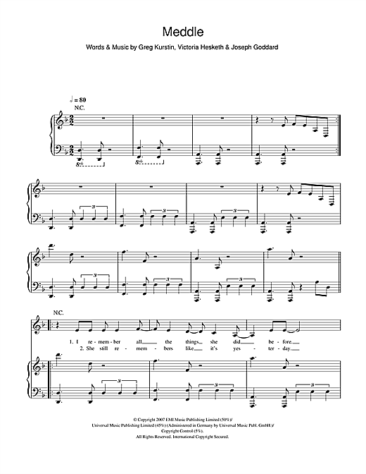 Little Boots Meddle sheet music notes and chords. Download Printable PDF.