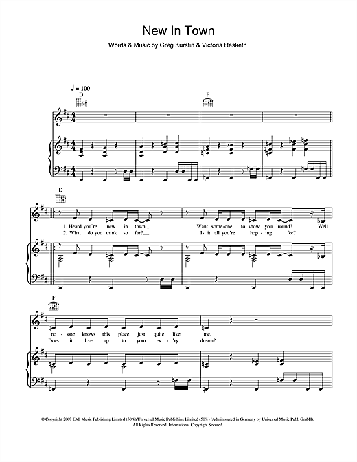 Little Boots New In Town sheet music notes and chords. Download Printable PDF.