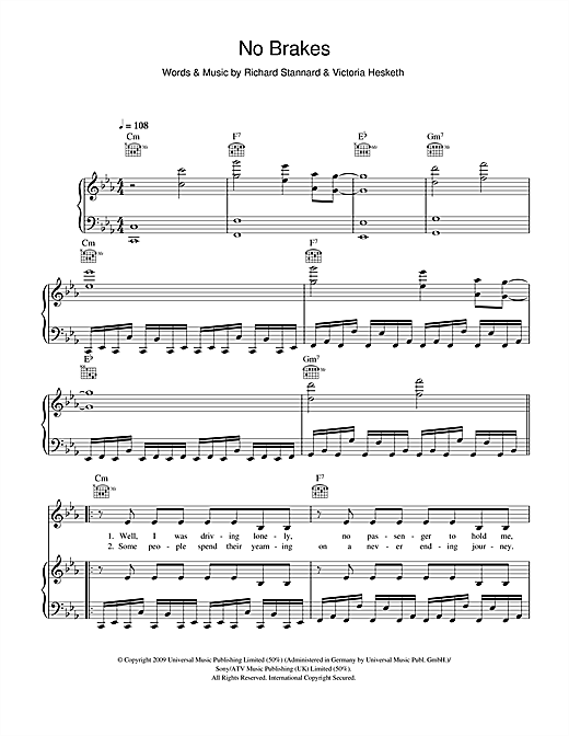 Little Boots No Brakes sheet music notes and chords. Download Printable PDF.