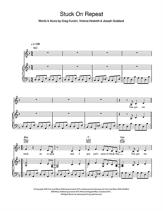 Little Boots Stuck On Repeat sheet music notes and chords. Download Printable PDF.