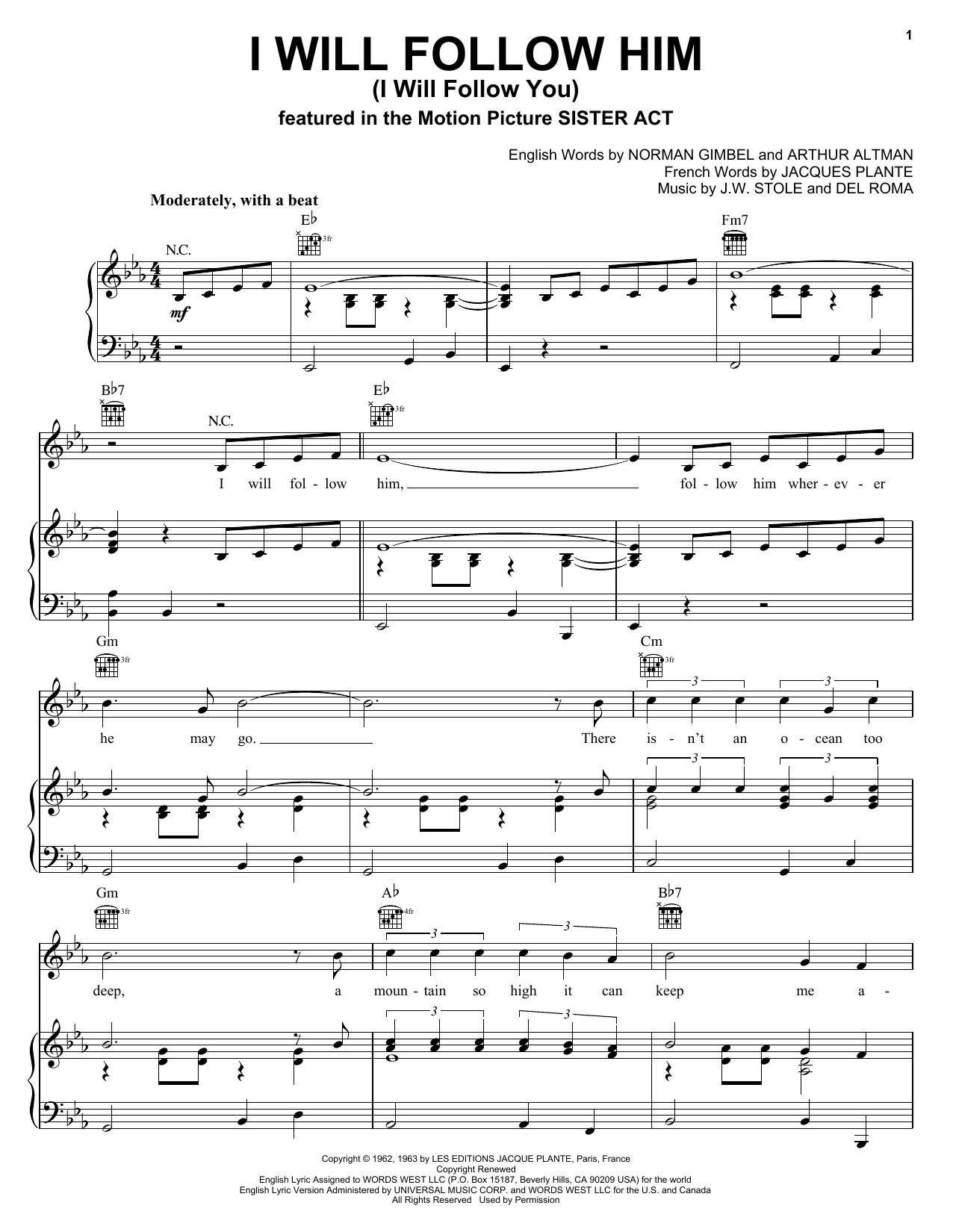 Little Peggy March I Will Follow Him (I Will Follow You) sheet music notes and chords. Download Printable PDF.