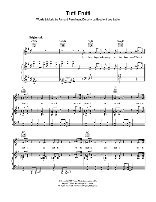 Little Richard Tutti Frutti sheet music notes and chords. Download Printable PDF.