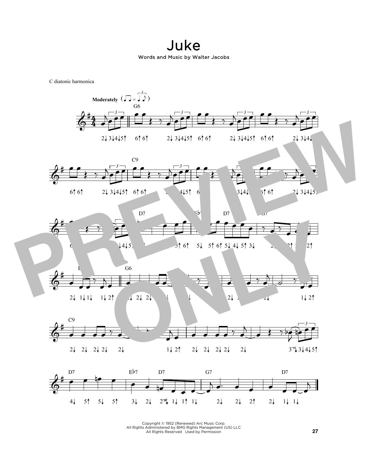 Little Walter Juke sheet music notes and chords. Download Printable PDF.