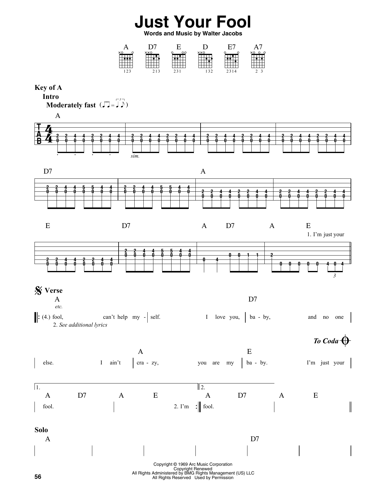 Little Walter Just Your Fool sheet music notes and chords. Download Printable PDF.