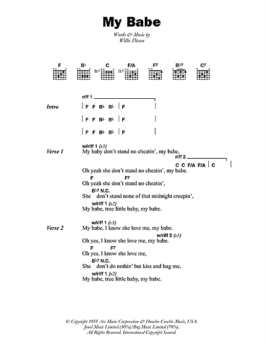 Little Walter My Babe sheet music notes and chords. Download Printable PDF.