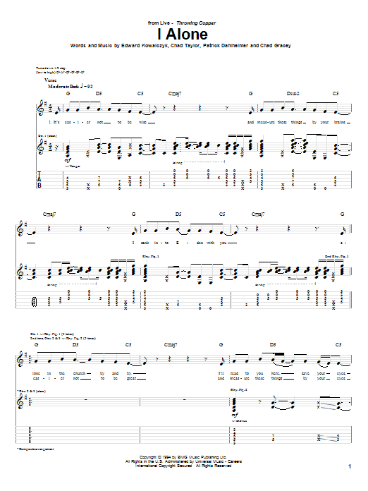 Live I Alone sheet music notes and chords. Download Printable PDF.