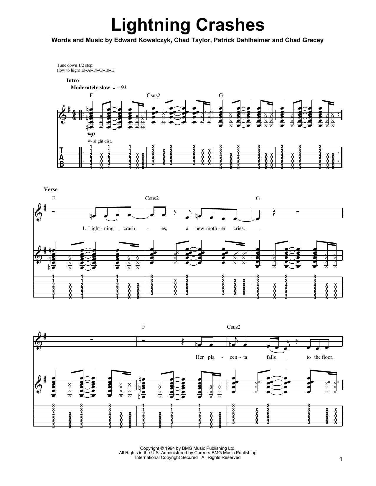Live Lightning Crashes sheet music notes and chords