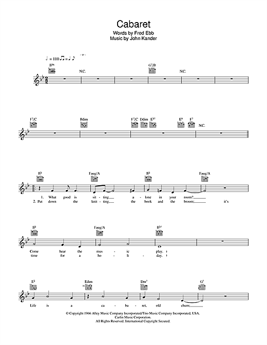 Liza Minnelli Cabaret sheet music notes and chords. Download Printable PDF.