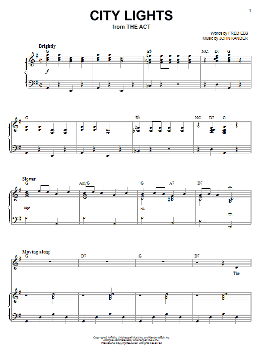 Liza Minnelli City Lights sheet music notes and chords. Download Printable PDF.
