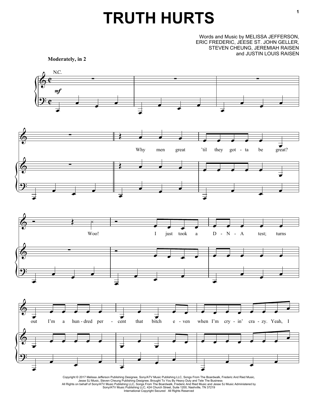 Lizzo Truth Hurts sheet music notes and chords