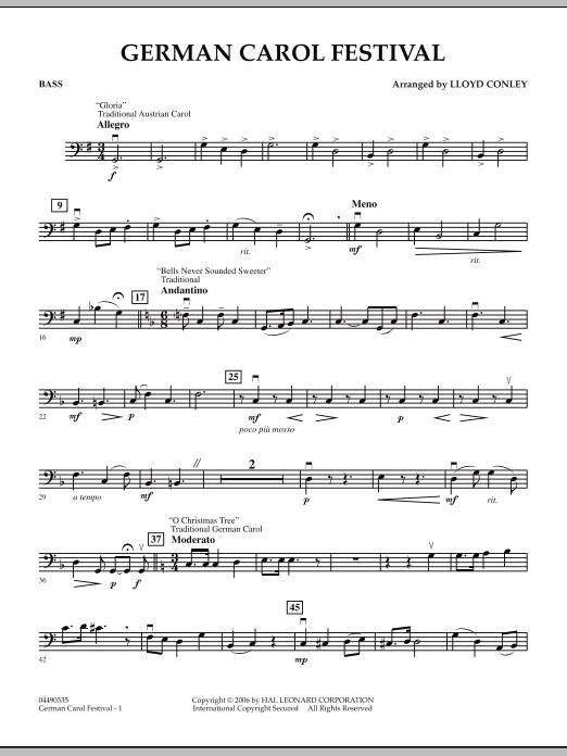 Lloyd Conley German Carol Festival - Bass sheet music notes and chords. Download Printable PDF.
