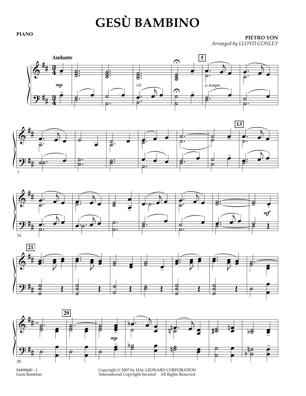 Lloyd Conley Gesu Bambino - Piano sheet music notes and chords. Download Printable PDF.