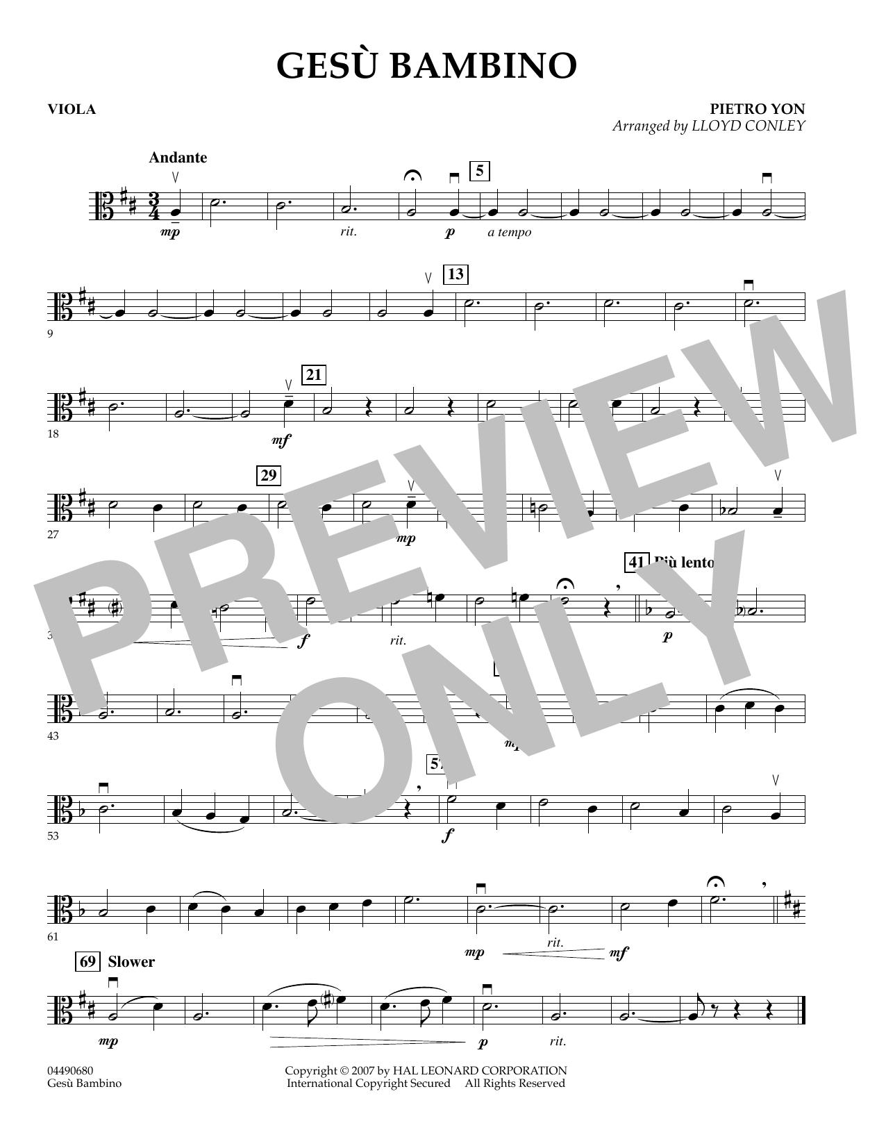 Lloyd Conley Gesu Bambino - Viola sheet music notes and chords. Download Printable PDF.
