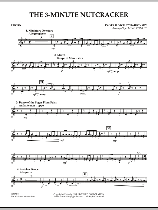Lloyd Conley The 3-Minute Nutcracker - F Horn sheet music notes and chords