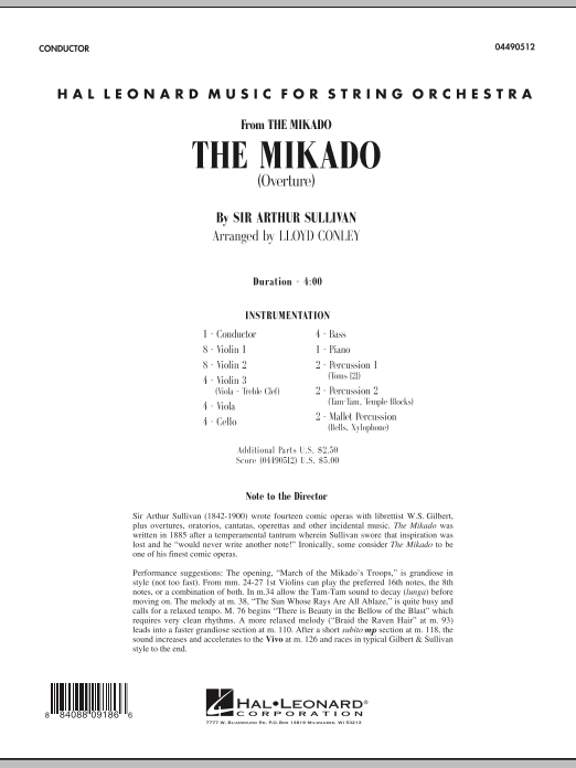 Lloyd Conley The Mikado (Overture) - Full Score sheet music notes and chords. Download Printable PDF.
