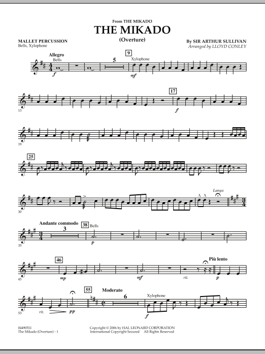Lloyd Conley The Mikado (Overture) - Mallet Percussion sheet music notes and chords. Download Printable PDF.