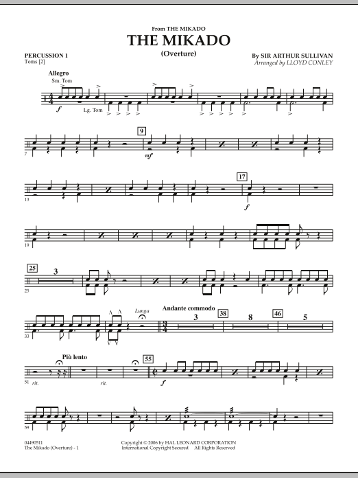 Lloyd Conley The Mikado (Overture) - Percussion 1 sheet music notes and chords. Download Printable PDF.