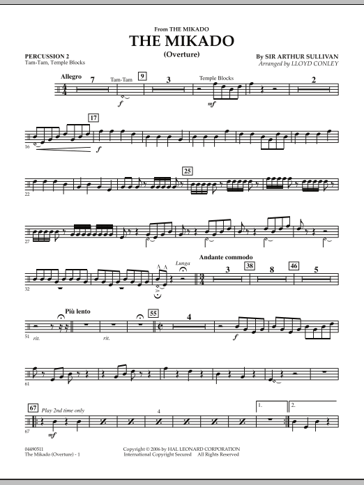 Lloyd Conley The Mikado (Overture) - Percussion 2 sheet music notes and chords. Download Printable PDF.